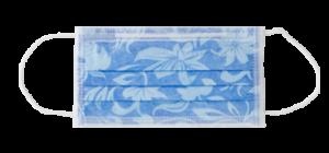 mascherina monouso floreale azzurra